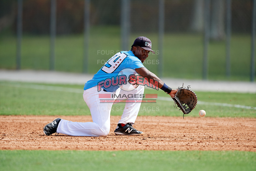 John Malcom (49) while playing for Chicago Scouts Association based out of Chicago, Illinois during the WWBA World Championship at the Roger Dean Complex on October 19, 2017 in Jupiter, Florida.  John Malcom is a first baseman / outfielder from West Bloomfield, Michigan who attends Detroit Country Day High School.  (Mike Janes/Four Seam Images)