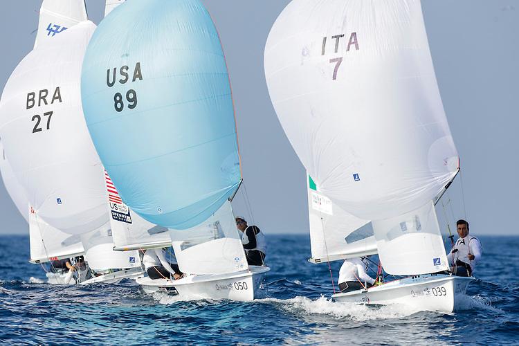 SANTANDER, SPAIN - SEPTEMBER 14:  470 Men - USA89 - Jordan FACTOR / Matthew WEFER in action during Day 3 of the 2014 ISAF Sailing World Championships on September 14, 2014 in Santander, Spain.  (Photo by MickAnderson/SAILINGPIX via Getty Images)