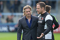 Assistant Manager Sam Collins (right) of Hartlepool United talks to Wycombe Wanderers Manager Gareth Ainsworth on the final whistle during the Sky Bet League 2 match between Wycombe Wanderers and Hartlepool United at Adams Park, High Wycombe, England on 5 September 2015. Photo by Andy Rowland.
