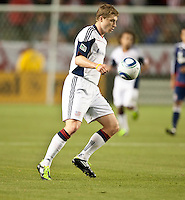 CARSON, CA – APRIL 30, 2011: New England Revolution midfielder Zak Boggs (10) receives a pass during the match between Chivas USA and New England Revolution at the Home Depot Center, April 30, 2011 in Carson, California. Final score Chivas USA 3, New England Revolution 0.