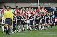 Chivas USA players walking onto the field. Chivas USA defeated San Jose Earthquakes 1-0 at Buck Shaw Stadium in Santa Clara, California on May 2, 2009.