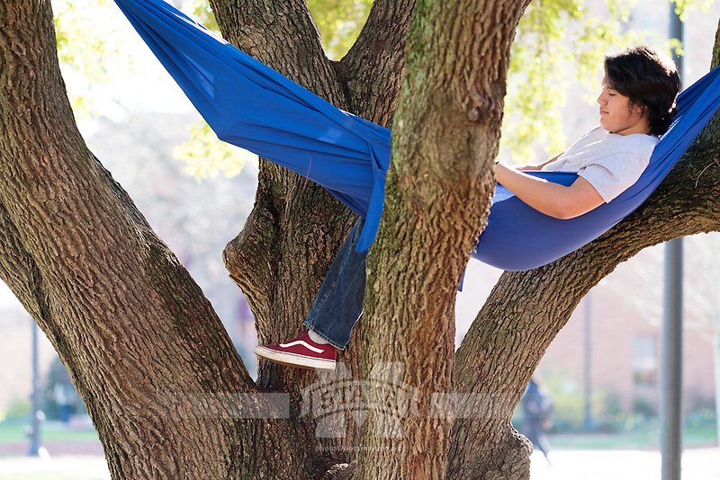 Drill Field hammock hanging: Micah Lewis (Computer Engineering major).<br />   (photo by Megan Bean / &copy; Mississippi State University)