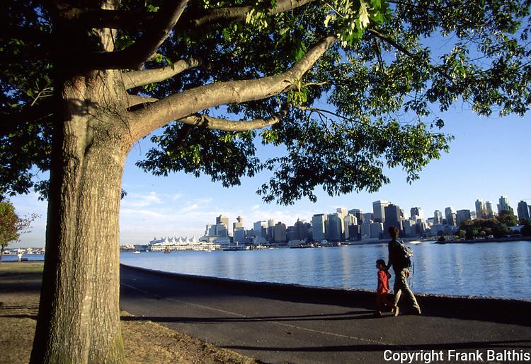 Walking along waterfront in Stanley Park