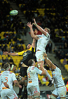 Dominic Bird goes up foir lineout ball during the Super Rugby semifinal match between the Hurricanes and Chiefs at Westpac Stadium, Wellington, New Zealand on Saturday, 30 July 2016. Photo: Dave Lintott / lintottphoto.co.nz