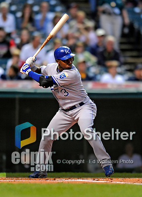12 September 2008: Kansas City Royals' outfielder Esteban German in action against the Cleveland Indians at Progressive Field in Cleveland, Ohio. The Indians defeated the Royals 12-5 in the first game of their 4-game series...Mandatory Photo Credit: Ed Wolfstein Photo