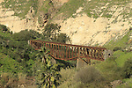 A view from Hamat Gader of the railway bridge over the Yarmuk river, the bridge was part of the Haifa-Damascus line