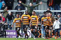John Akinde of Barnet (9) celebrates scoring his team's second goal against Luton Town to make it 2-1 during the Sky Bet League 2 match between Barnet and Luton Town at The Hive, London, England on 28 March 2016. Photo by David Horn.