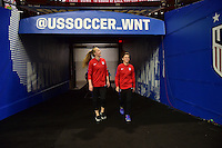 Atlanta, GA - Sunday Sept. 18, 2016: Whitney Engen, Meghan Klingenberg prior to a international friendly match between United States (USA) and Netherlands (NED) at Georgia Dome.