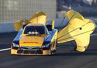 Feb 12, 2016; Pomona, CA, USA; NHRA funny car driver Del Worsham during qualifying for the Winternationals at Auto Club Raceway at Pomona. Mandatory Credit: Mark J. Rebilas-USA TODAY Sports