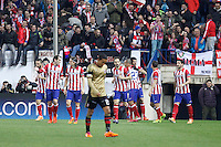 Atletico de Madrid´s Diego Costa (R) celebrates a goal with his team mates during 16th Champions League soccer match at Vicente Calderon stadium in Madrid, Spain. January 06, 2014. (ALTERPHOTOS/Victor Blanco)