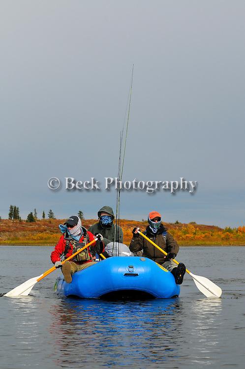 the big Ku Alaska, fall season,on a raft