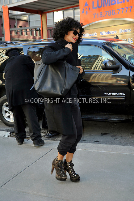 WWW.ACEPIXS.COM<br /> <br /> February 11 2015, New York City<br /> <br /> Actress Tracee Ellis Ross leaving a downtown hotel on February 11 2015 in New York City.<br /> <br /> <br /> Please byline: Curtis Means/ACE Pictures<br /> <br /> ACE Pictures, Inc.<br /> www.acepixs.com, Email: info@acepixs.com<br /> Tel: 646 769 0430