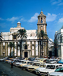 Parked cars close to Cadiz cathedral, Andalucia, Spain. 1975
