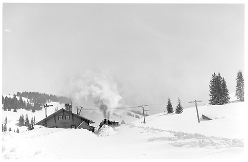 D&amp;RGW #464 and #486 plowing snow at Cumbres station.<br /> D&amp;RGW  Cumbres Pass, CO  ca 1930
