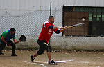Palestinian players of Hilal club compete with Palestinian players of Ahli club during Final Baseball, in Gaza City on January 26, 2019. Photo by Mahmoud Ajjour