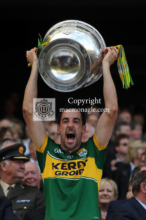 Anthony Maher lifts the Sam Maguire Cup to celebrate  Kerry's victory over Donegal in the All-Ireland Football Final against  in Croke Park 2014.<br /> Photo: Don MacMonagle<br /> <br /> <br /> Photo: Don MacMonagle <br /> e: info@macmonagle.com