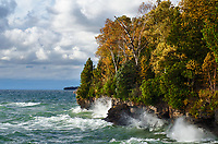The Cave Point County Park stormy Lake Michigan shore, is beaten by waves, Door County, Wisconsin