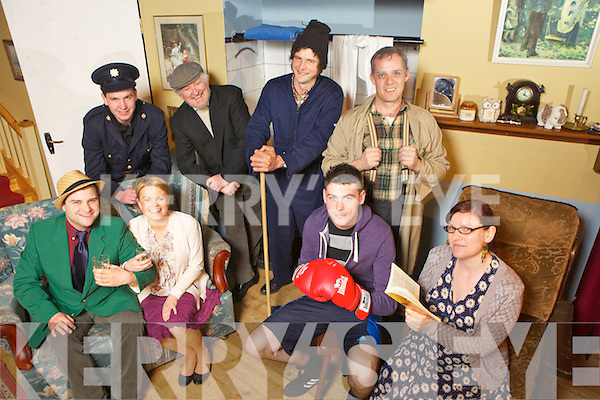 Members of Abbeyfeale Drama Group preparing for their upcoming play, 'Anyone Can Rob A Bank', pictured here during dress rehearsals last Monday night in The Glorach Theatre, Abbeyfeale. F l-r: Nick Cotter, Anette O'Donnell, Jospeh Flaherty, Marina Collins. B L-r: Michael Ward, Jer Kirby, Lorcan MacCurtain and Conor Dennison.