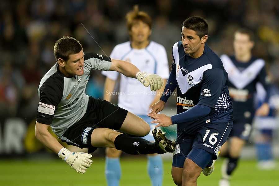 MELBOURNE, AUSTRALIA - OCTOBER 16, 2010: Liam Reddy of Sydney FC fails to save a kick for goal by Carlos Hernandez of Melbourne VIctory in Round 10 of the 2010 A-League between the Melbourne Victory and Sydney FC at Etihad Stadium on October 16, 2010 in Melbourne, Australia. (Photo by Sydney Low / Asterisk Images)