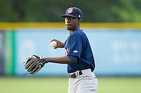 Elizabethton Twins shortstop Nick Gordon (9) warms up in the outfield prior to the game against the Burlington Royals at Burlington Athletic Park on June 25, 2014 in Burlington, North Carolina.  The Twins defeated the Royals 8-0. (Brian Westerholt/Four Seam Images)