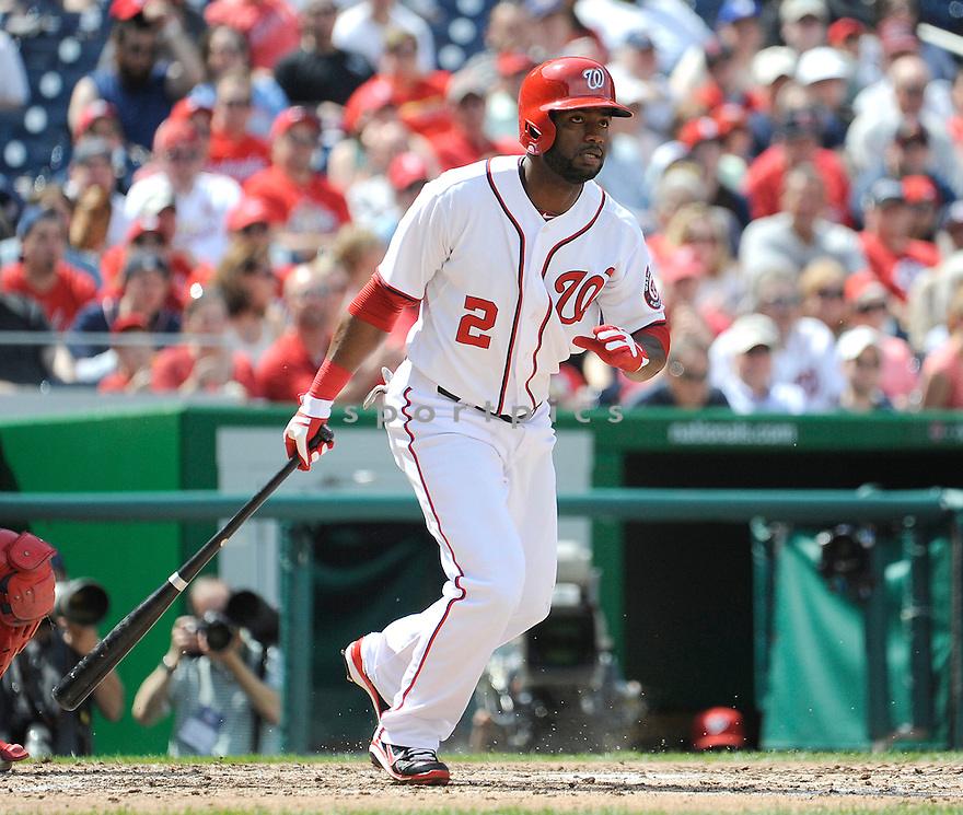 Washington Nationals Denard Span (2) during a game against the St. Louis Cardinals on April 24, 2013 at Nationals Park in Washington DC. The Cardinals beat the Nationals 4-2.