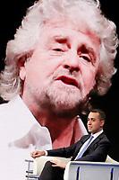 Luigi Di Maio e sul video Beppe Grillo<br /> Roma 09/01/2018. Trasmissione tv Rai 'Porta a Porta'.<br /> Rome January 9th 2018. Talk show 'Porta a Porta'.<br /> Foto Samantha Zucchi Insidefoto