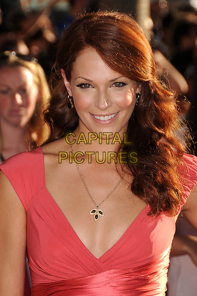"Amanda Righetti.Premiere of ""Captain America: The First Avenger"" held at The El Capitan Theatre in Hollywood, California, USA..July 19th, 2011.headshot portrait pink necklace  .CAP/ADM/BP.©Byron Purvis/AdMedia/Capital Pictures."