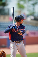 Rome Braves left fielder Jefrey Ramos (22) at bat during a game against the Lexington Legends on May 23, 2018 at Whitaker Bank Ballpark in Lexington, Kentucky.  Rome defeated Lexington 4-1.  (Mike Janes/Four Seam Images)