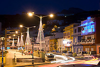 Spain, Canary Islands, La Palma, Tazacorte: centre with christmas illumination