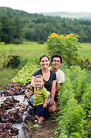 Hisa Kominami and Susan Monahan and their son Emmer at their farm in East St. Johnsbury, Vermont.