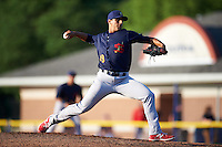 State College Spikes starting pitcher Steven Farinaro (19) delivers a pitch during a game against the Batavia Muckdogs on June 24, 2016 at Dwyer Stadium in Batavia, New York.  State College defeated Batavia 10-3.  (Mike Janes/Four Seam Images)