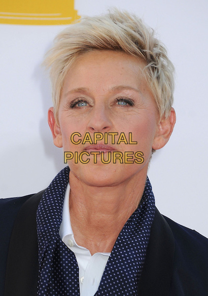 Ellen Degeneres  .The 64th Anual Primetime Emmy Awards held at Nokia Theatre L.A. Live in Los Angeles, California, USA..September 23rd, 2012.emmys headshot portrait white blue black scarf polka dot.CAP/ADM/BP.©Byron Purvis/AdMedia/Capital Pictures.