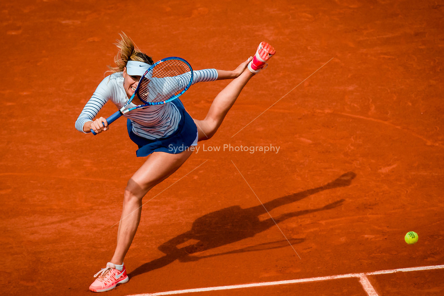 May 29, 2015: Maria SHARAPOVA of the Russian Federation in action in a 3rd round match against Samantha STOSUR of Australia  on day six of the 2015 French Open tennis tournament at Roland Garros in Paris, France. SHARAPOVA won 63 64. Sydney Low/AsteriskImages