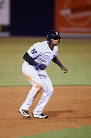 Tampa Yankees right fielder Jhalan Jackson (38) leads off second base during a game against the Lakeland Flying Tigers on April 7, 2017 at George M. Steinbrenner Field in Tampa, Florida.  Lakeland defeated Tampa 5-0.  (Mike Janes/Four Seam Images)