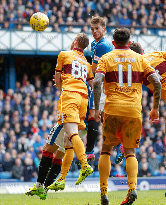 Joe Garner almost scores with a header