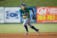 Lexington Legends shortstop Marten Gasparini (16) on defense against the Kannapolis Intimidators at Kannapolis Intimidators Stadium on July 14, 2016 in Kannapolis, North Carolina.  The Kannapolis Intimidators defeated the Lexington Legends 4-2.  (Brian Westerholt/Four Seam Images)