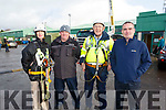 Instructors and students stand by the cranes and are ready for heights to 163ft at the ETB Training Centre on Tuesday.  Aoife Comiskey Clifford, Andy Keane (Wind Turbine Instructor), Tony Buckley and Kevin O'Connor (KETB Wind Turbine Instructor)