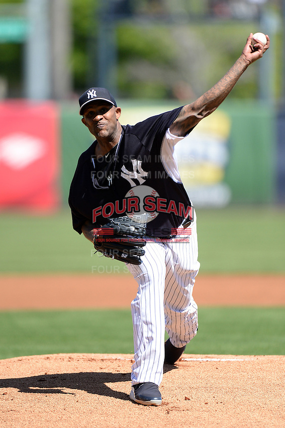 Pitcher CC Sabathia (52) of the New York Yankees during a spring training game against the Philadelphia Phillies on March 1, 2014 at Steinbrenner Field in Tampa, Florida.  New York defeated Philadelphia 4-0.  (Mike Janes/Four Seam Images)