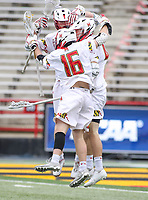 College Park, MD - May 13, 2018: Maryland Terrapins celebrates a goal during the NCAA first round game between Robert Morris and Maryland at  Capital One Field at Maryland Stadium in College Park, MD.  (Photo by Elliott Brown/Media Images International)