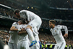 Real Madrid´s Gareth Bale celebrates a goal (1-0) with his team mates during La Liga match at Santiago Bernabeu stadium in Madrid, Spain. March 15, 2015. (ALTERPHOTOS/Victor Blanco)