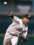 Reno Aces' Alex Sanabia pitches during the opening day game against the El Paso Chihuahuas in Reno, Nev., on Thursday, April 3, 2014. El Paso won 7-5.<br /> Photo by Cathleen Allison