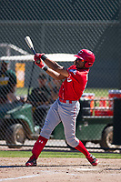 Cincinnati Reds outfielder Reshard Munroe (92) follows through on his swing during an Instructional League game against the Oakland Athletics on September 29, 2017 at Lew Wolff Training Complex in Mesa, Arizona. (Zachary Lucy/Four Seam Images)