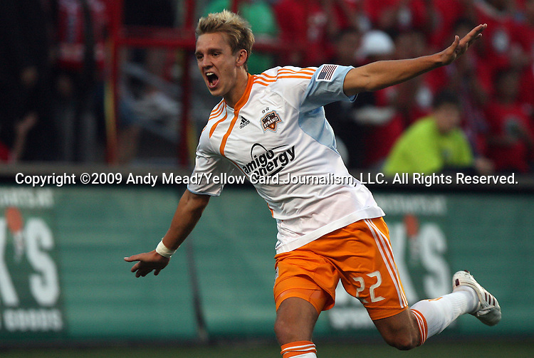 05 June 2009: Houston's Stuart Holden celebrates after scoring the game's only goal. The Houston Dynamo defeated the Chicago Fire 1-0 at Toyota Park in Bridgeview, Illinois in a regular season Major League Soccer game.