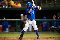 South Bend Cubs second baseman Yeiler Peguero (20) at bat during a game against the Clinton LumberKings on May 5, 2017 at Four Winds Field in South Bend, Indiana.  South Bend defeated Clinton 7-6 in nineteen innings.  (Mike Janes/Four Seam Images)