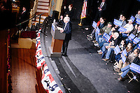 Vermont senator and Democratic presidential candidate Bernie Sanders speaks at a town hall at the Rochester Opera House in Rochester, New Hampshire, on Thurs., Feb. 4, 2016. Press and attendee turnout was low for the event because of scheduling issues. The rally had been scheduled for the previous day, postponed, and then rescheduled just a few hours before the event took place. Later that night, Sanders took part in an MSNBC-sponsored debate with Hillary Rodham Clinton.