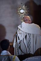 Pope Francis during a Corpus Domini procession between the basilicas San Giovanni in Laterano and Santa Maria Maggiore on in Rome.18 June 2017