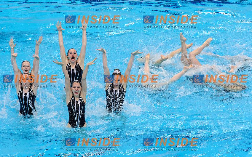 GREAT BRITAIN GBR <br /> FEDERICI Olivia CLARK Katie RANDALL Hannah <br /> CRITCHLEY Emma THORPE Isabelle BROWN Jorja <br /> BRADLEY-SMITH Phoebe JAMES Zoe COOPER Danielle HOCKIN Lara <br /> Free Combination Final <br /> London, Queen Elizabeth II Olympic Park Pool <br /> LEN 2016 European Aquatics Elite Championships <br /> Synchronized Swimming <br /> Day 04 12-05-2016<br /> Photo Andrea Staccioli/Deepbluemedia/Insidefoto