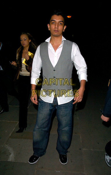 TIM KASH .The Moscow Motion Party, Old Billingsgate Market, London, England..April 21st, 2007.full length jeans denim grey gray waistcoat .CAP/CAN.©Can Nguyen/Capital Pictures