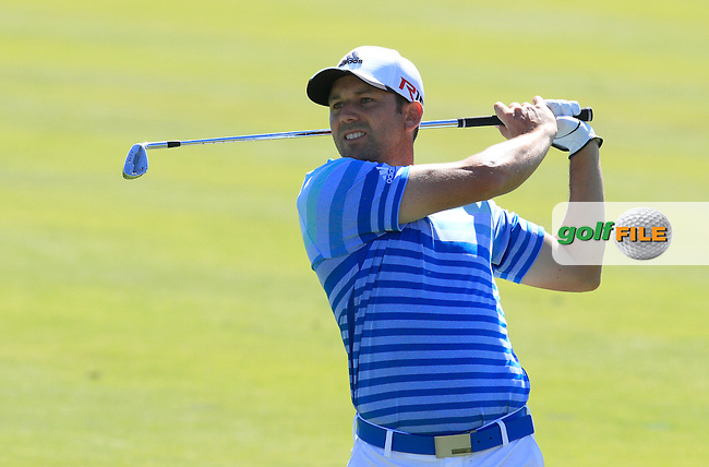 Sergio Garcia (ESP) on the 9th fairway during Round 3 of the Open de Espana  in Club de Golf el Prat, Barcelona on Saturday 16th May 2015.<br /> Picture:  Thos Caffrey / www.golffile.ie