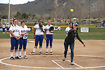 Jamie McNinch, with Information & Marketing Services, throws out the first pitch of a game between Western Nevada and Snow College at Edmonds Sports Complex in Carson City, Nev., on Friday, March 20, 2015. <br /> Photo by Cathleen Allison